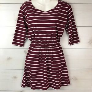 Forever 21 Maroon & White Striped Dress Small
